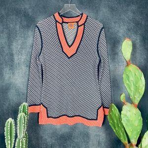 Tory Burch Sweaters - Tory Burch Knit Tunic Orange Navy Printed Sweater